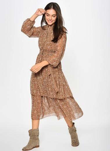Loves You Katlı Emprime Şifon  Elbise Taba